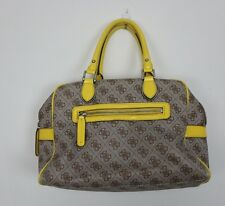 Classic GUESS Monogram Shoulder Bag Women's Purse, Floral Lining Brown Yellow