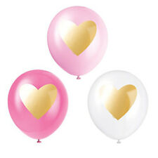 6 x assorted pink & white balloons with gold metallic heart print
