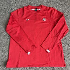 NIKE Ohio State Buckeyes On-Field Long Sleeve Shirt Red CQ5060-657 Mens Sz XL