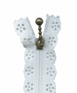 Lace Zips - Closed End - 20cm - Antique Bronze Ball and Chain Slider