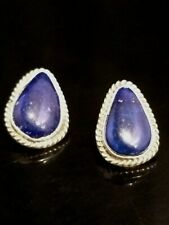 Lapis Earrings Cecil Atencio Native American Navajo Signed Blue
