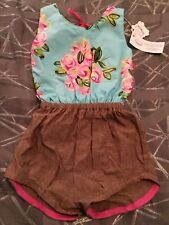 NWT KCD Creations Handmade Boutique Girls Shorts Romper Aqua Blue Pink Floral 6