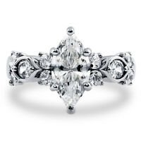 BERRICLE Sterling Silver Marquise Cut Cubic Zirconia CZ Solitaire Fashion Ring