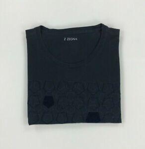 Men's Navy Blue Z Zegna T-Shirt XL Crewneck Short Sleeve Logo Print Cotton A/B