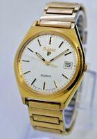 Vintage Men's PULSAR by Seiko Gold Tone Dress Watch, Date, Quartz, Y562-8159