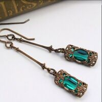 Vintage Women's Emerald & Amethyst Silver Dangle Wedding Earrings Jewelry Gifts