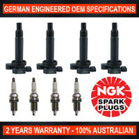 4x Genuine NGK Spark Plugs & 4x Ignition Coils for Toyota Yaris NCP91R/93R/131R