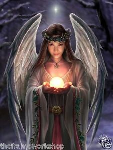 ANNE STOKES ART YULE ANGEL - 3D FANTASY PICTURE PRINT LARGE 300mm x 400mm