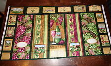 """""""Wine Country"""" Wall Hanging/ Quilt Cotton Fabric Panel- Grapes & Wine Bottles"""