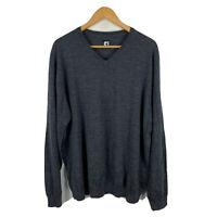 Footjoy Mens Wool Golf Sweater Jumper Size 2XL Grey Long Sleeve V-Neck