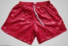 Red Wet Look Shiny Nylon Soccer Shorts by Soffe - Men's Small *HOT*