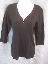 Cable & Gauge Sweater Size Medium Zippered V-Neck NWT NEW Black