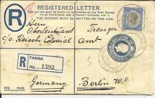 Tanganyika Registered Postal Envelope HG:C4 uprated SG#97 TANGA 13/OC/1928