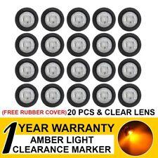 "20 X Clear Lens Amber 3/4"" LED Bullet Side Marker Rear Light Truck Boat Trailer"