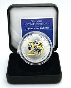 1 OZ Silber Canada 2013 Sonderedition 25 Jahre Maple Leaf gilded Lagerräumung