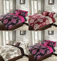 Luxury Duvet Quilt Cover & Pillowcases Reversible Bedding Set Single Double King