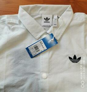 Adidas Originals Seersucker Shirt BNWT MEDIUM 3 stripes Street Skateboarding
