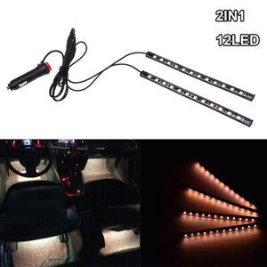 12 LED Orange Car Interior Accessories Floor Decorative Atmosphere Lamp Light 2x