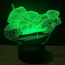 Motorcycle Boy's Gift Acrylic 3D Light Table Desk Lamp Touch Switch USB 7 Colors