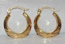 9CT GOLD PATTERNED CREOLE HOOP EARRINGS