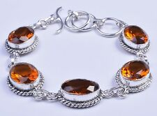 925 Sterling Silver Overlay Bracelet, Citrine Gemstone Fashion Jewelry PBR105