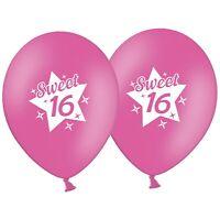 "Sweet 16  Birthday -  Star  12""  Rose Pink Printed Latex Balloons pack of 25"