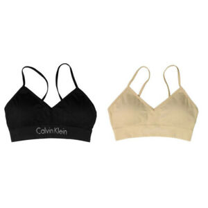 Calvin Klein Seamless Signature Logo Band Bralette 2 Pack, Black/Beige, X-Large