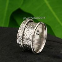 Solid 925 Sterling Silver Spinner Ring Meditation Ring Statement Ring Size se135