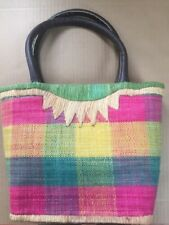 Woven Multicolor Straw Sisal Jute Market Beach Tote Handbag Faux Leather Handles