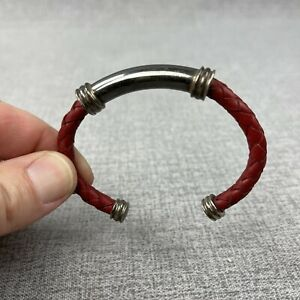ESPO Sterling Silver Red Woven Leather Cuff Bracelet 925 Signed