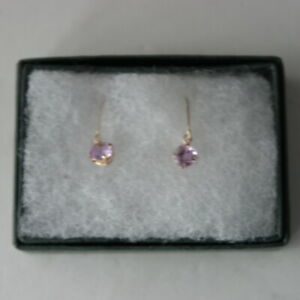 9Ct Yellow Gold Earrings With Round Amethyst Gemstone In Gift Box