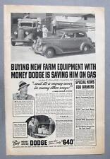 Original 1936 Dodge 2 Dr Sedan Ad Photo Endorsed John W Wilcox Crown Point Ind.