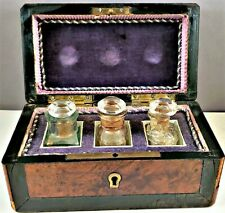 Antique Fitted Pharmacy Box With Three Bottles Burl & Mother-of-Pearl Inlay Nr