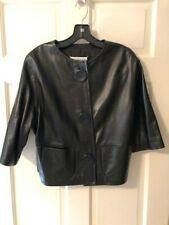 """Maison Martin Margiela """"Replica"""" Black Leather Cropped Jacket - NWOT - Size 44"""