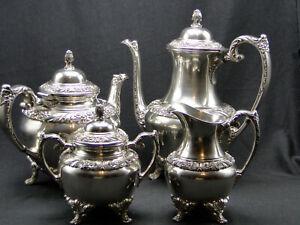 4pc 1847 Rogers Bros Heritage Silverplate Tea & Coffee Set Holloware
