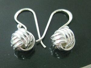 REAL 925 sterling silver PLAIN 8mm trinity KNOT hook drop earrings - TEEN GIRL
