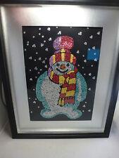 Framed Handmade  Art Snowman  Snowflakes, SEQUIN  SEQUINCE  HAND MADE