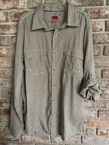 Dakota Grizzly Mens Outdoor Shirt Large Plaid Vented Button Down
