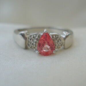 'Lance Fisher' Padparadscha Sapphire & SI Diamond White Gold Engagement Ring
