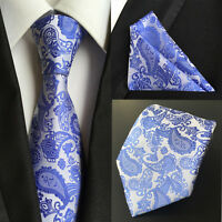 New Classic Tie White With Royal Blue JACQUARD WOVEN 100% Silk Men's Necktie
