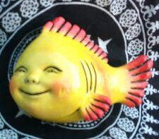 "Vintage Retro mermaid bath fish wall plaque 4"" anthropomorphic yellow high gloss"