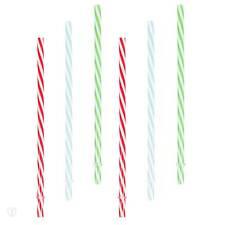 Strohhalm 6er Set Kunststoff gesteift rot, grün, blau / Trinkhalme, Strohhalme