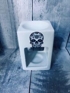Handmade Sugar Skull Day Of The Dead Oil Burner Wax Melt Tea Light Halloween