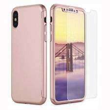 For iPhone 11 Pro Max X 8 6s 7 Plus 360 Full Body Hard Case Cover Tempered Glass
