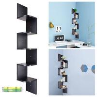 Corner Shelf Wood 5 Tiers Wall Storage Display Rack Zig Zag Home Shelves Black