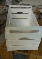 Cassette della frutta in legno vintage  bianche 50x30x27 peso 1.3 kg