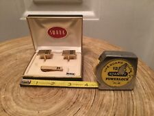 Vintage SWANK Gold Tone Matching Nice Boarder Cuff Links & Tie Bar Set