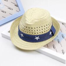 Child Baby Outdoor Straw Hat Wide Brim Cap Summer Beach Suncreen Boys Girls Hats