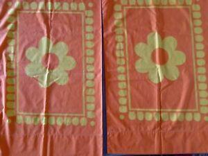 2 x Pillowcases 60s 70s Vintage Fabric Floral Cannon Royal Family Retro Orange