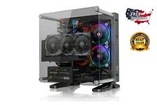 Gaming PC Case Glass Mini ITX Tower Frame DIY Liquid Cooling Chassis Wall Mount